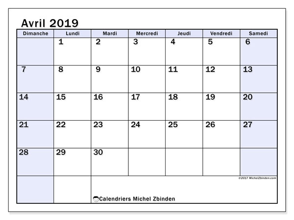 Calendriers avril 2019 (DS).  57DS.