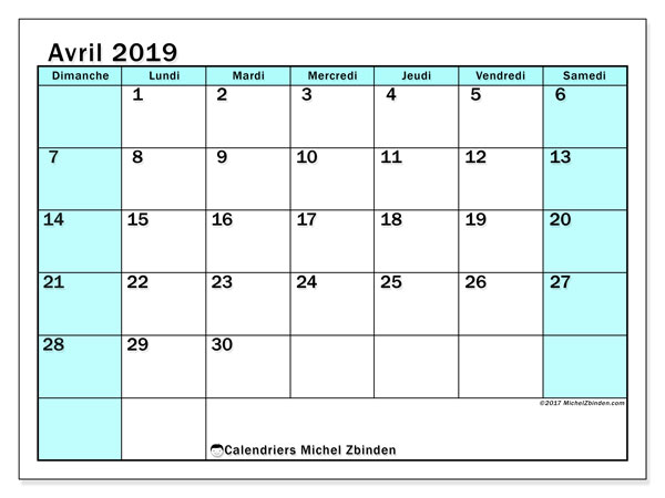 Calendriers avril 2019 (DS).  59DS.