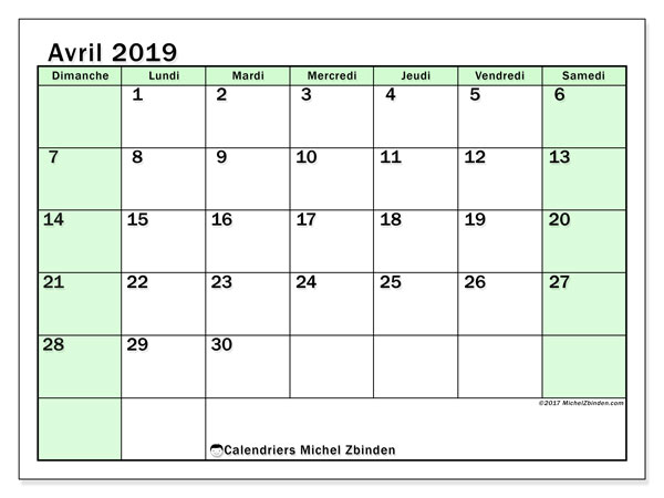 Calendriers avril 2019 (DS).  60DS.