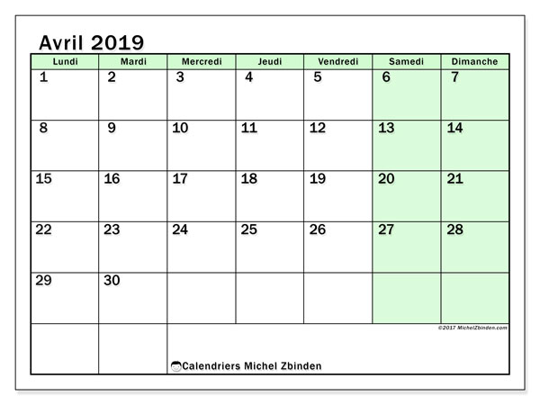 Calendrier avril 2019 (32LD)