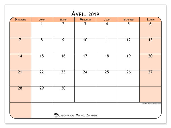 Calendrier avril 2019 (61DS)