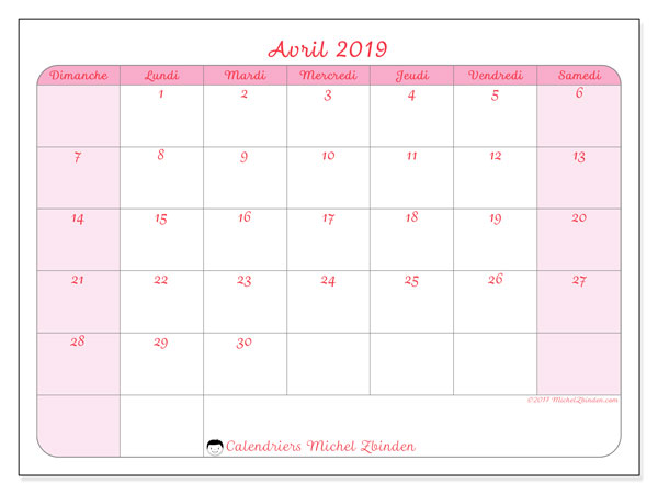 Calendrier avril 2019 (63DS).