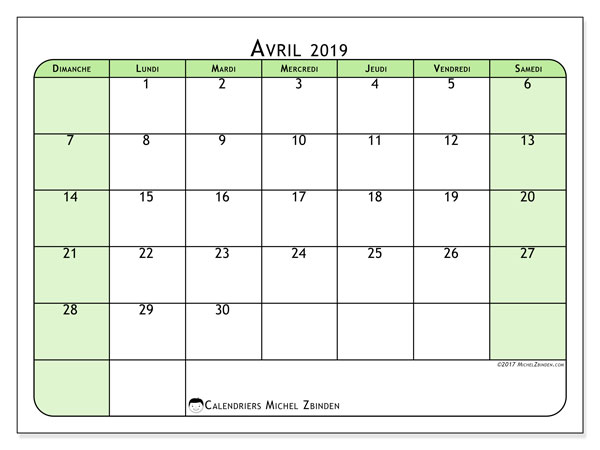 Calendrier avril 2019 (65DS)