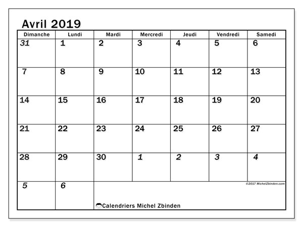 Calendriers avril 2019 (DS).  66DS.