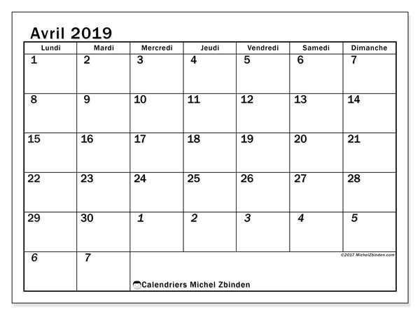 Calendrier avril 2019 (66LD)