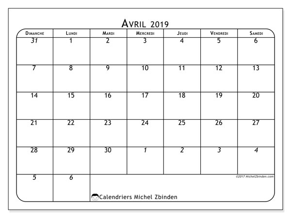 Calendriers avril 2019 (DS).  67DS.