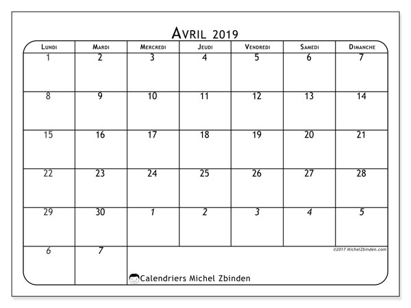Calendrier avril 2019 (67LD)