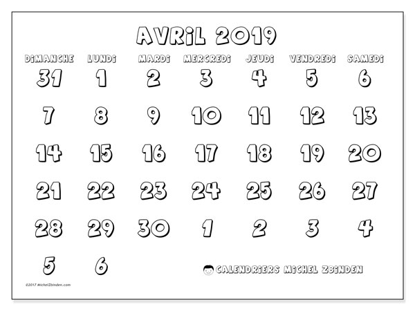 Calendrier avril 2019 (71DS)