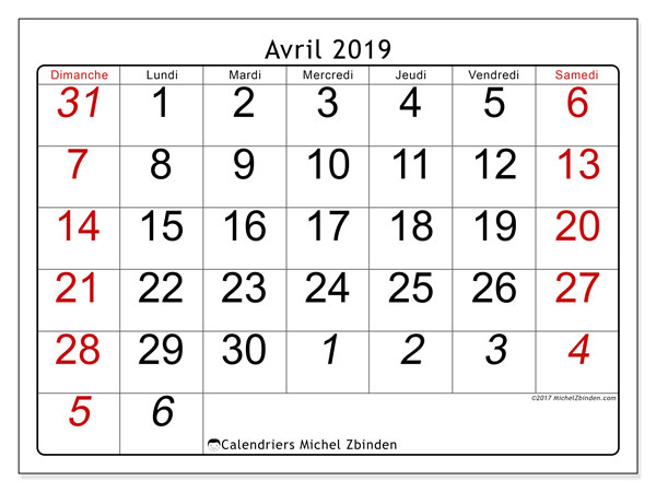 Calendriers avril 2019 (DS).  72DS.