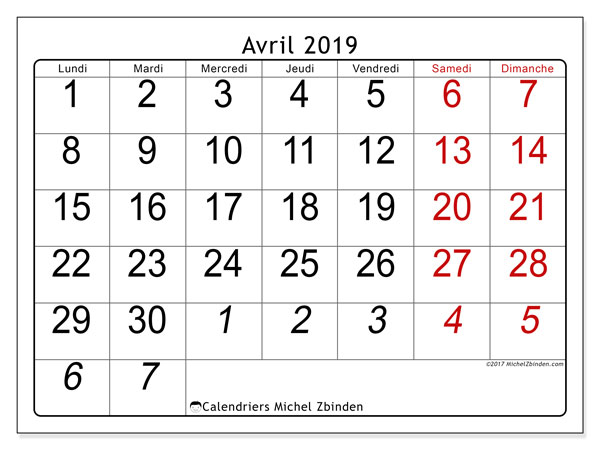 Calendrier avril 2019 (72LD)