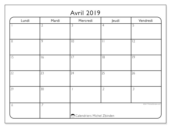 Calendrier avril 2019 (74DS)