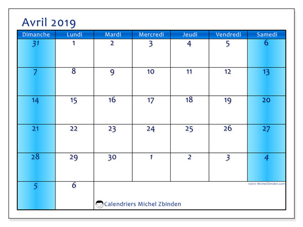 Calendriers avril 2019 (DS).  75DS.