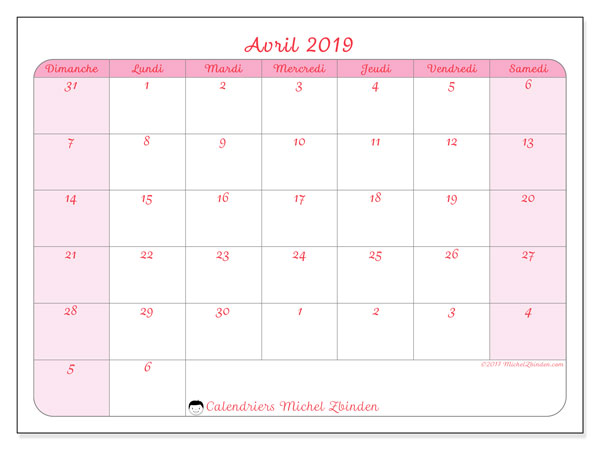 Calendriers avril 2019 (DS).  76DS.