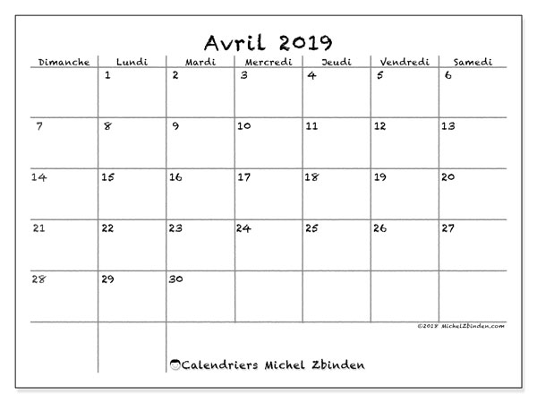 Calendriers avril 2019 (DS).  77DS.