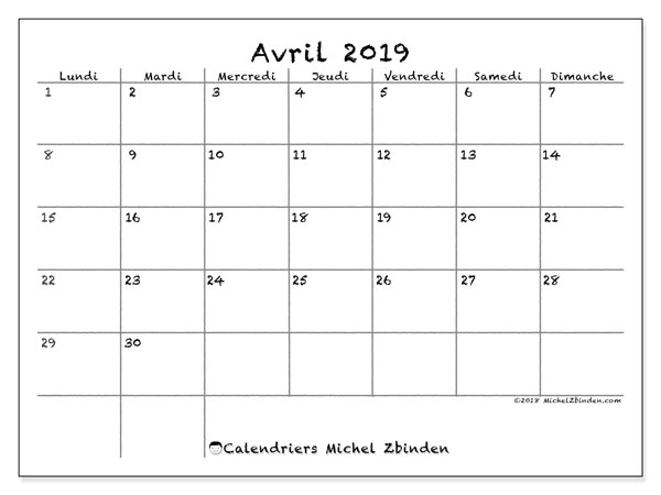 Calendrier avril 2019 (35LD)