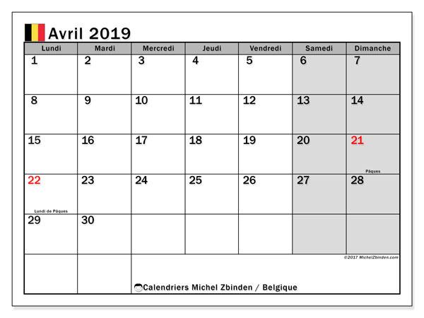 Calendrier avril 2019, avec les jours fériés de la Belgique. Organisateur à imprimer gratuit.