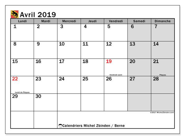 Calendrier avril 2019, avec les jours fériés du Canton de Berne. Calendrier gratuit à imprimer.