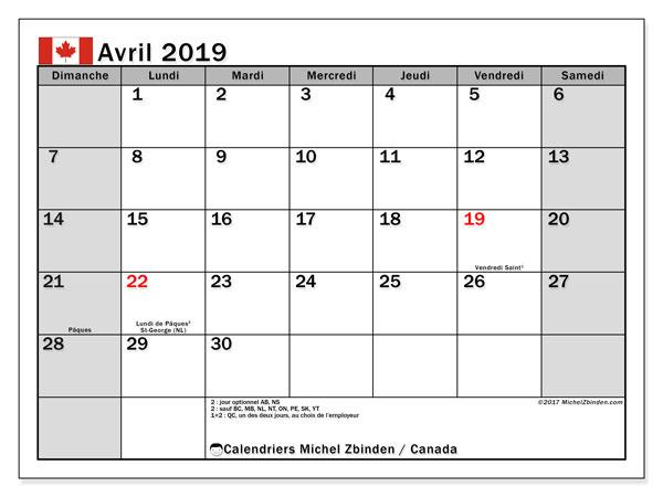 Calendrier avril 2019, avec les jours fériés du Canada. Organisateur à imprimer gratuit.