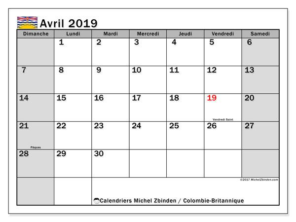 Calendrier avril 2019, avec les jours fériés de la Colombie-Britannique. Calendrier gratuit à imprimer.