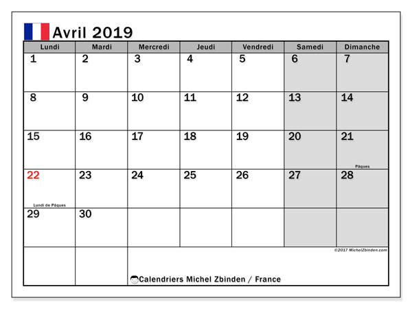 Calendrier avril 2019, France