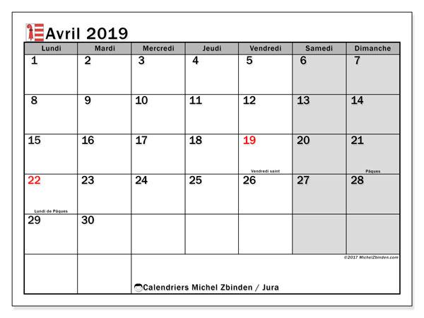 Calendrier avril 2019, avec les jours fériés du Canton du Jura. Organisateur à imprimer gratuit.