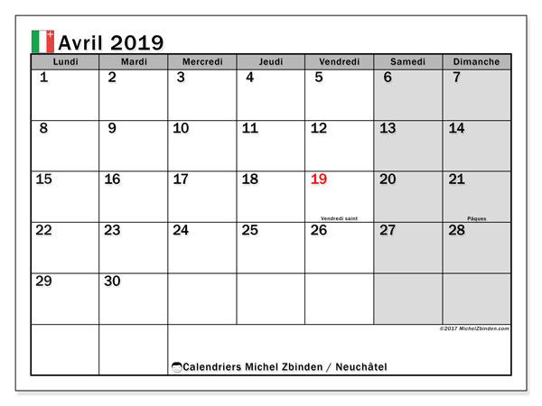 Calendrier avril 2019, avec les jours fériés du Canton de Neuchâtel. Planificateur à imprimer gratuit.