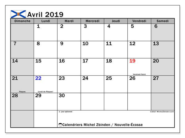Calendrier avril 2019, avec les jours fériés de la Nouvelle-Écosse. Calendrier à imprimer gratuit avec jours fériés.