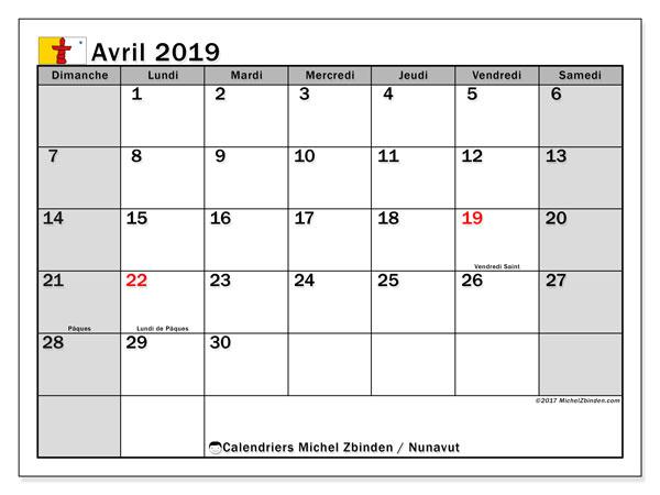 Calendrier avril 2019, avec les jours fériés du Nunavut. Calendrier à imprimer gratuit avec jours fériés.