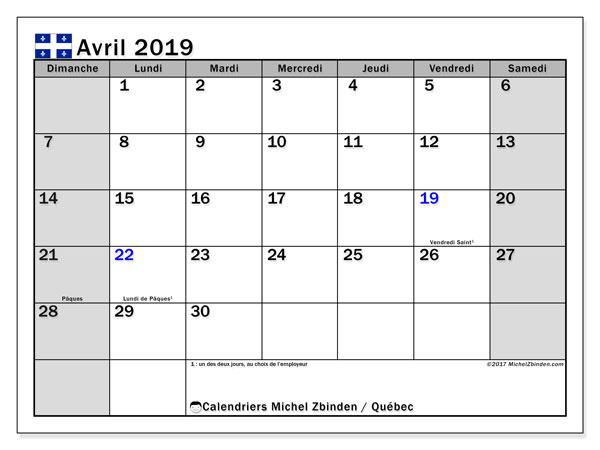 Calendrier avril 2019, avec les jours fériés du Québec. Calendrier gratuit à imprimer.