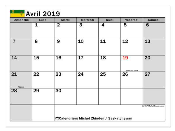 Calendrier avril 2019, avec les jours fériés de la Saskatchewan. Calendrier gratuit à imprimer.