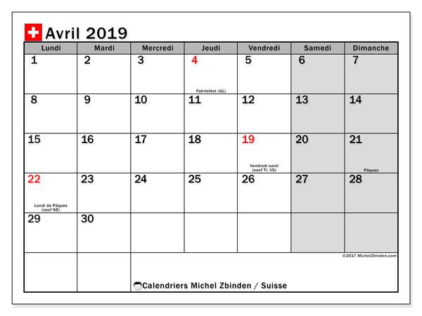 Calendrier avril 2019, avec les jours fériés de la Suisse. Calendrier mensuel à imprimer gratuit.