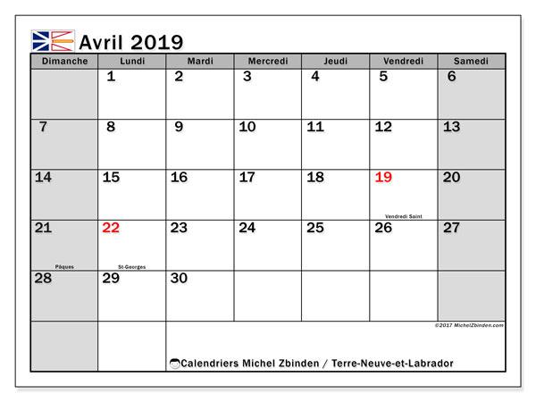 Calendrier avril 2019, avec les jours fériés de Terre-Neuve-et-Labrador. Calendrier à imprimer gratuit.