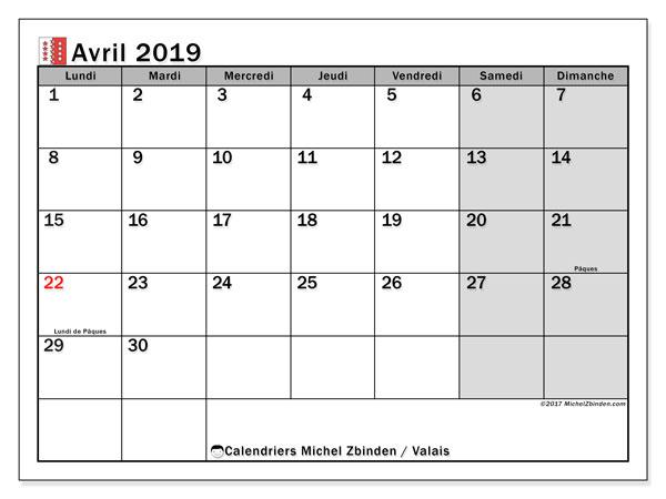 Calendrier avril 2019, avec les jours fériés du Canton du Valais. Calendrier gratuit à imprimer.
