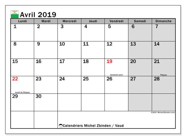 Calendrier avril 2019 - Vaud. Calendrier à imprimer : fêtes et jours fériés.