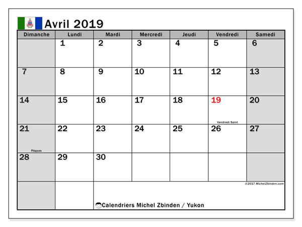 Calendrier avril 2019 - Yukon. Calendrier à imprimer : jours fériés officiels.