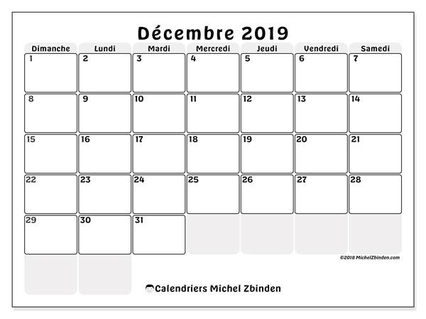 Calendrier Mensuel Decembre 2019.Calendrier Decembre 2019 44ds Michel Zbinden Fr