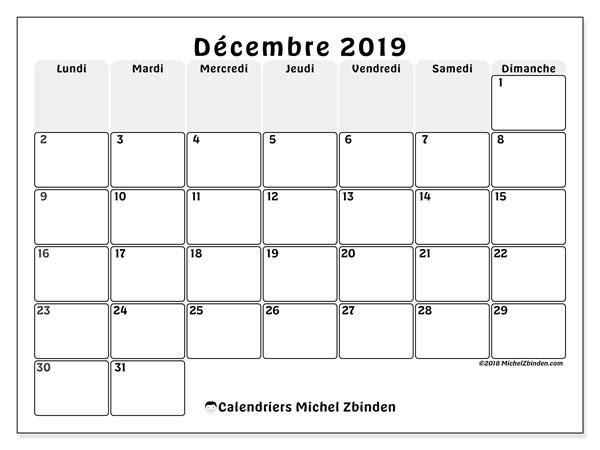 Calendrier décembre 2019, 44LD. Planificateur à imprimer gratuit.