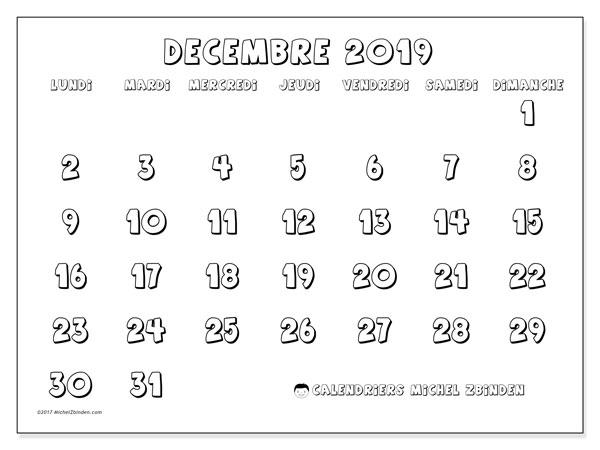 Calendrier décembre 2019, 56LD. Organisateur à imprimer gratuit.