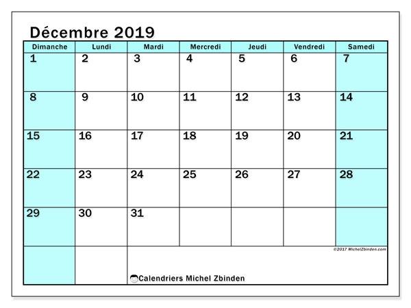 Calendrier décembre 2019, 59DS. Planificateur à imprimer gratuit.