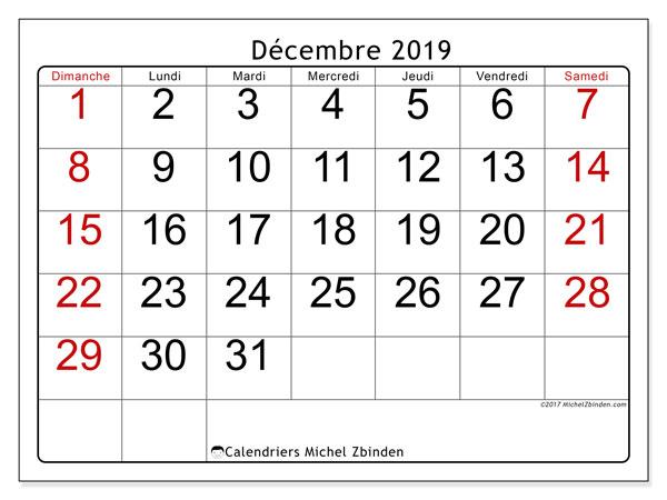 Calendrier décembre 2019, 62DS. Organisateur à imprimer gratuit.
