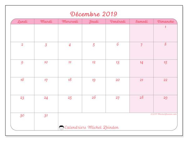 Calendrier décembre 2019, 63LD. Calendrier pour le mois à imprimer gratuit.