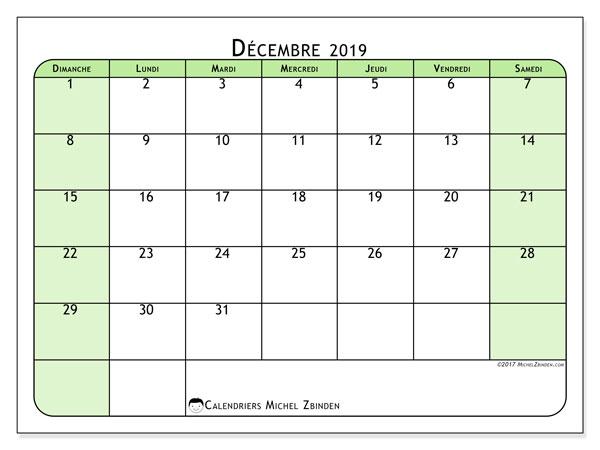 Calendrier décembre 2019, 65DS. Calendrier pour le mois à imprimer gratuit.