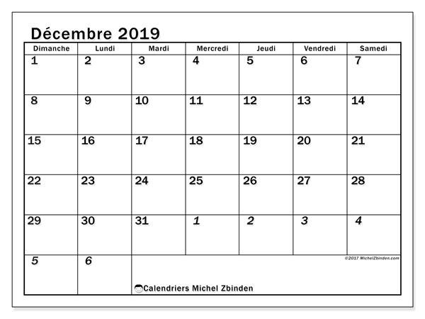 Calendrier décembre 2019, 66DS. Calendrier pour le mois à imprimer gratuit.