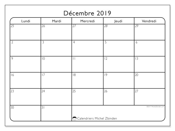 Calendrier décembre 2019, 74DS. Calendrier gratuit à imprimer.