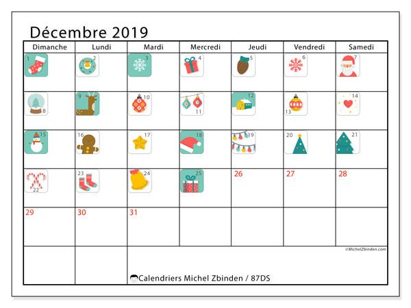 Calendrier décembre 2019, 87DS. Calendrier de l'Avent. Calendrier gratuit à imprimer.