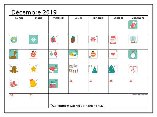 Calendrier décembre 2019, 87LD. Calendrier de l'Avent. Calendrier mensuel à imprimer gratuit.