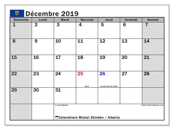 Calendrier décembre 2019, avec les jours fériés de l'Alberta. Calendrier imprimable gratuit.