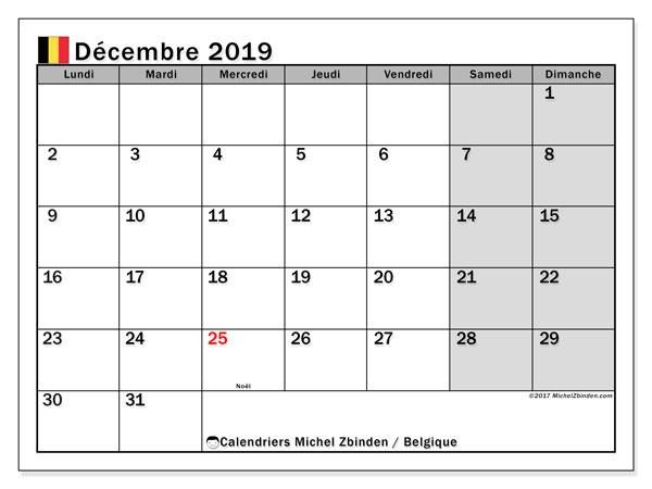 Calendrier décembre 2019, avec les jours fériés de la Belgique. Calendrier gratuit à imprimer.