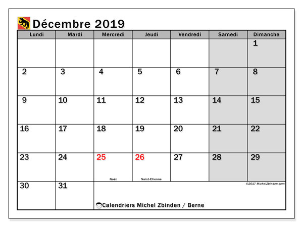 Calendrier décembre 2019, avec les jours fériés du Canton de Berne. Calendrier mensuel à imprimer gratuit.