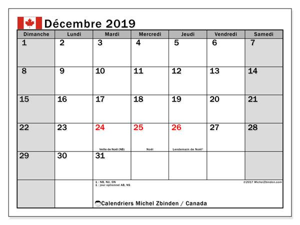Calendrier décembre 2019, avec les jours fériés de le Canada. Calendrier Fêtes et jours fériés à imprimer gratuit.